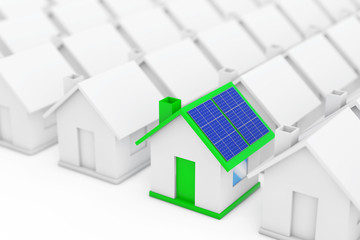 Green House with Blue Solar Panels in among White Houses. 3d Rendering