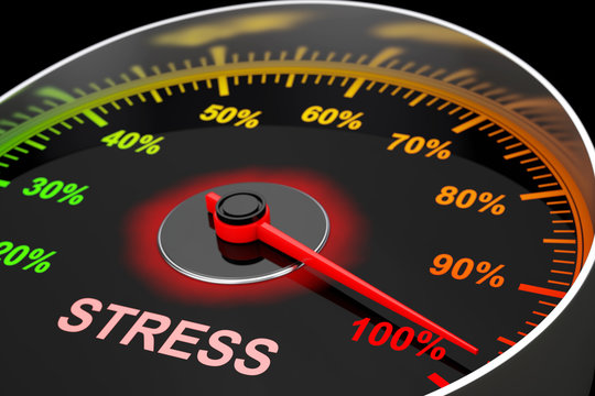 Speedometer as Stress Level Meter. 3d Rendering