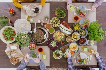 Vegetarians eating together