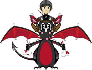 Cute Cartoon Medieval Soldier Riding a Dragon
