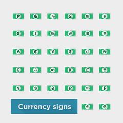 web icon set currency symbol