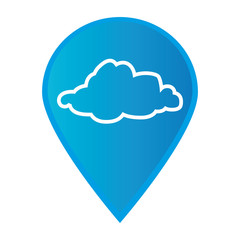 Mark icon pointer gps with silhouette cloud icon vector illustration