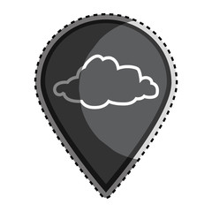 sticker monochrome Mark icon pointer gps with silhouette cloud icon vector illustration
