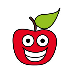color red kawaii fruit apple happy icon, vector illustration design