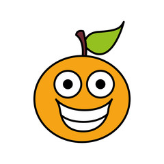 color kawaii fruit orange happy icon, vector illustration design