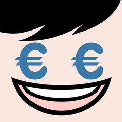 funny face with euro symbol in eyes