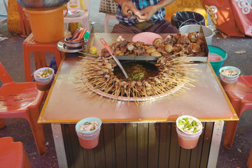 Traditional food in Yangon street, Myanmar