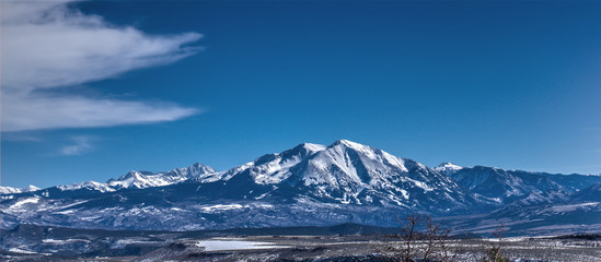 A mountain Range near Aspen Colorado and South of Basalt during the winter ski season