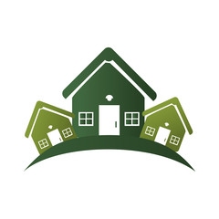 green silhouette with group of houses vector illustration