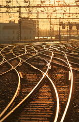 Wall Murals Railroad Sunrise over empty railroad tracks at Perrache station in Lyon, France. Shallow D.O.F.