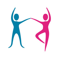 people fitness dancing icon, vector illustration design