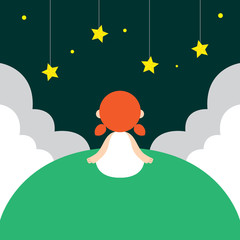 Vector illustration of young girl looking at night sky's star