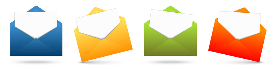colored envelopes with white paper