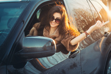 Young beautiful brunette inside the car