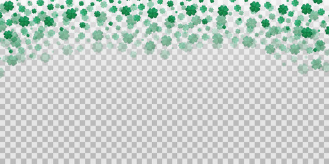 Vector four-leaf clover confetti on the transparent background. Concept of Happy Saint Patrick's Day.