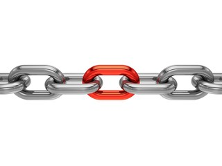 3D rendering Chain with red link on white background