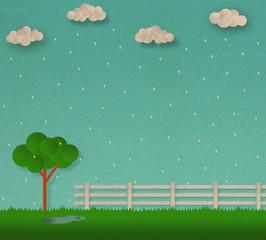 Nature landscape ,  tree in rainy season scene ,  illustraion