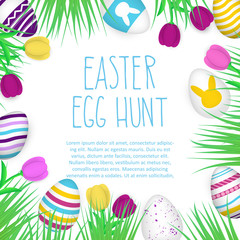 Easter Egg Hunt poster. Hand drawn sign. Rough look.