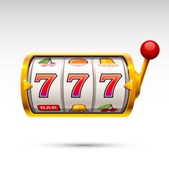 Golden slot machine wins the jackpot. isolated on white background