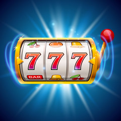 Golden slot machine wins the jackpot. Isolated on blue background.