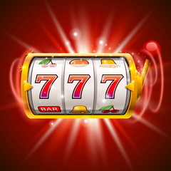 Golden slot machine wins the jackpot. Isolated on red background.