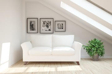 White modern room with sofa. Scandinavian interior design