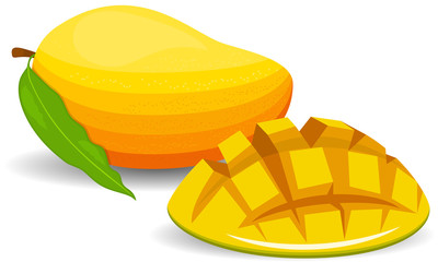 Fresh mango and a half of mango, fruit, transparent, Vector