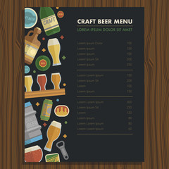 Craft beer menu template for bar and restaraunt.