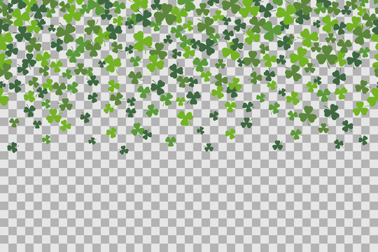 Seamless pattern with clover leafs for St Patricks Day celebration on transparent background.