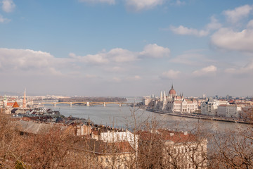 Panoramic overview of Budapest on foreground the Parliament building