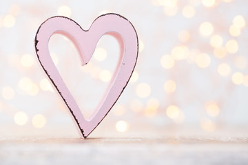 Hearts the bokeh background. Valentine Day background.