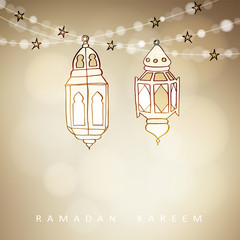 Hand drawn illuminated Arabic lamps, lanterns with bokeh lights and stars. Vector illustration for Muslim community holy month Ramadan Kareem, modern blurred golden festive background.