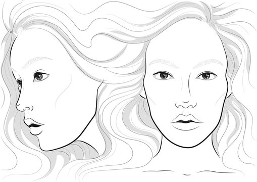 vector portrait of a woman's profile and full face with long beautiful hair, facechart, face chart  for makeup