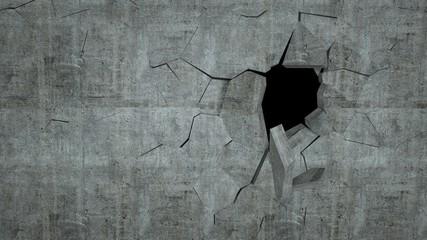 Pękająca betonowa ściana - efekt 3D