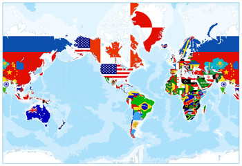 Wall Mural - World Map Flags - America in center - Bathymetry