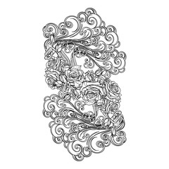 Element Air. Decorative vignette with curly clouds and rose flower garland. Black linear hand drawing isolated on white. Concept design for the tattoo, colouring book or postcard. EPS10 vector.
