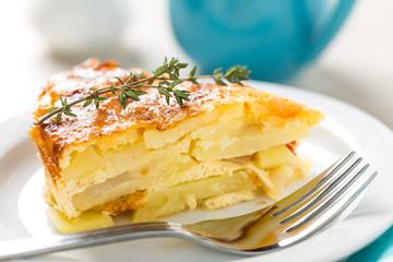 Potato breakfast gratin with parmesan