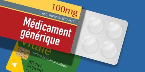 Médicament Générique - santé - boite de médicament - assurance maladie - comprimés