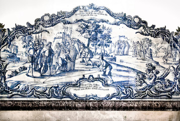 Ancient vintage azulejos picture in the Mosteiro de Santa Maria de Alcobaca - Portugal