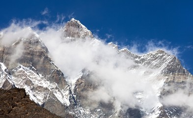 top of mount Lhotse and Lhotse Shar with clouds
