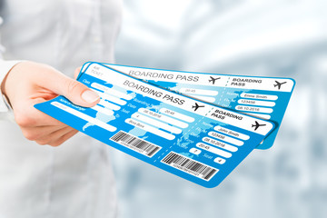 Air ticket in airport.