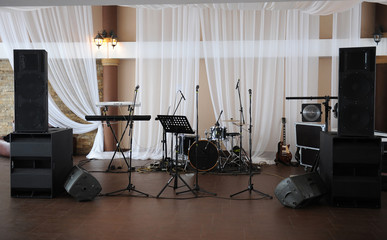 Musical instruments and equipment on stage