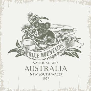 Коала, национальный парк Голубые Горы, Австралия, винтаж, сепия, иллюстрация, вектор