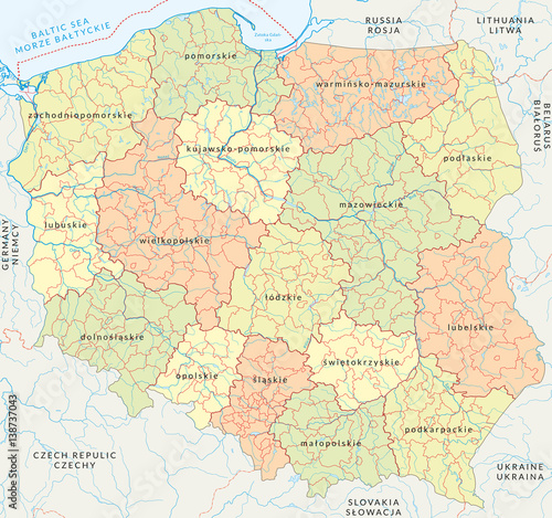 Vector map of Poland administrative division vol4 Stock image and