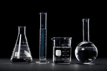 Laboratory Glassware on Dark Background