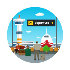 Icon Airport , View on Airplane and Control Tower through the Window from a Waiting Room with People , Scoreboard Departure at Airport, Travel Concept, Flat Design, Vector Illustration