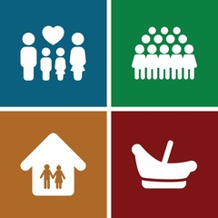 Set of 4 family filled icons