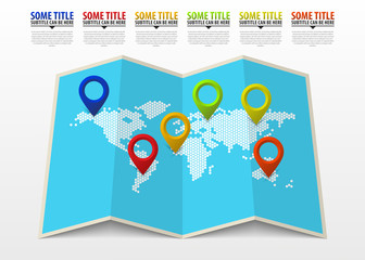 World map with pointer marks. Infographic template