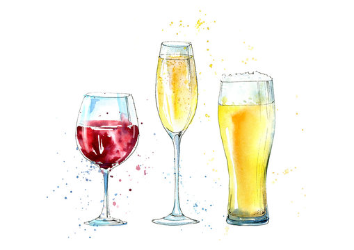 Glass of a champagne, beer and wine. Picture of a alcoholic drink.Watercolor hand drawn illustration.