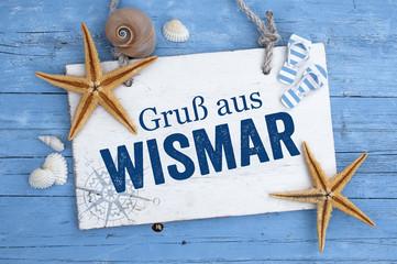 Maritime Postkarte mit Muscheln Seesternen Wismar und Stralsund Ostssee